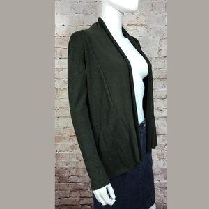 Zara Knit Cardigan Medium Open Front Dark Green